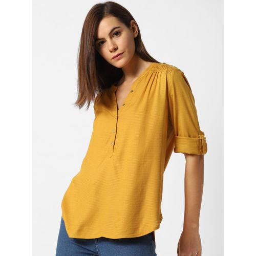 ONLY Women Mustard Yellow Regular Fit Self Design Casual Shirt
