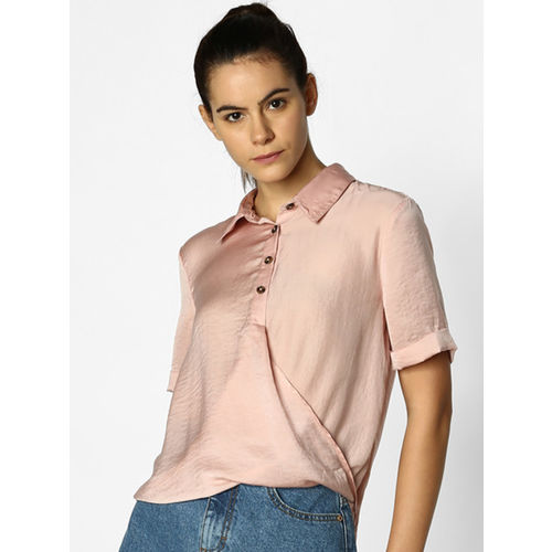 ONLY Women Pink Regular Fit Solid Casual Shirt