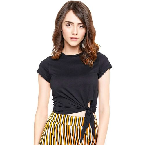 CRAZYINK Casual Short Sleeve Solid Women Black Top