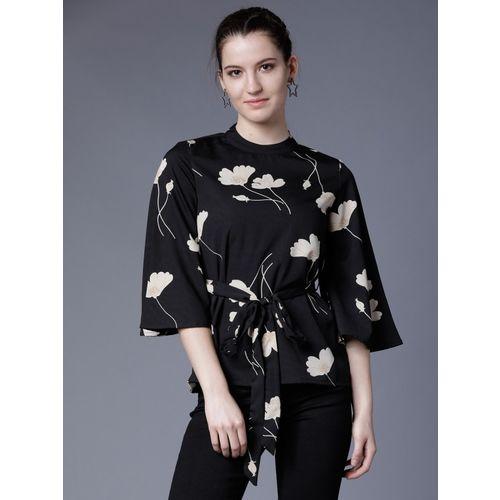 Tokyo Talkies Casual Bell Sleeve Printed Women Black Top