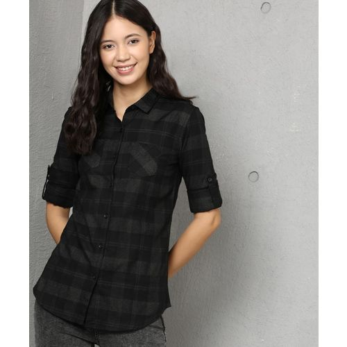 Metronaut Women Checkered Casual Black Shirt