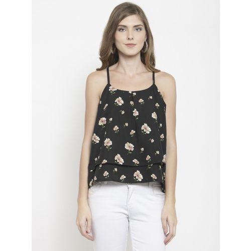 indietoga Casual Shoulder Strap Printed, Floral Print Women Black Top