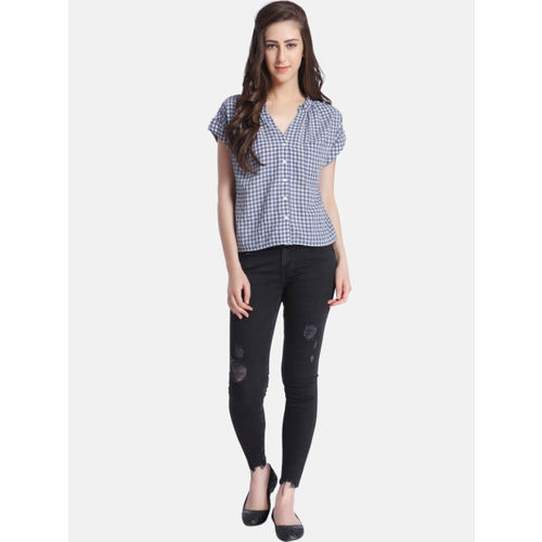 ONLY Women Blue & White Checked Shirt Style Top