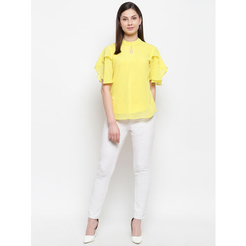 Karmic Vision Women Yellow Solid Top