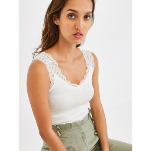promod Women Off-White Solid Fitted Top