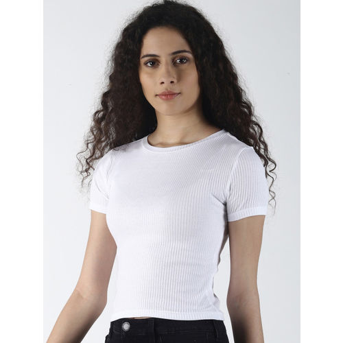 Blue Saint Women White Ribbed Fitted Top