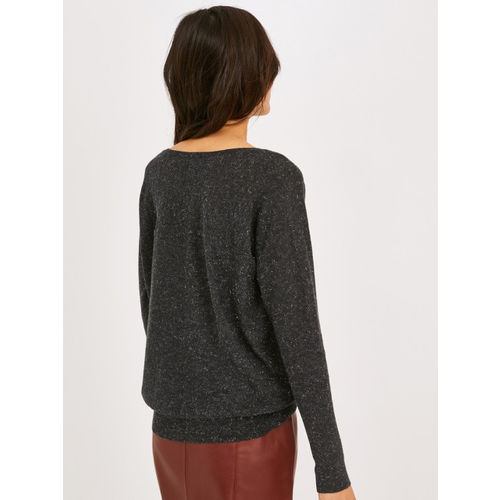 promod Women Charcoal Grey Shimmer Top