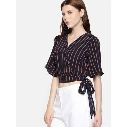 ONLY Women Navy Blue & Red Striped Wrap Top