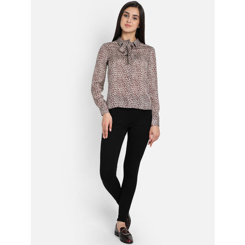COVER STORY Women Beige & Brown Animal Printed Shirt Style Top