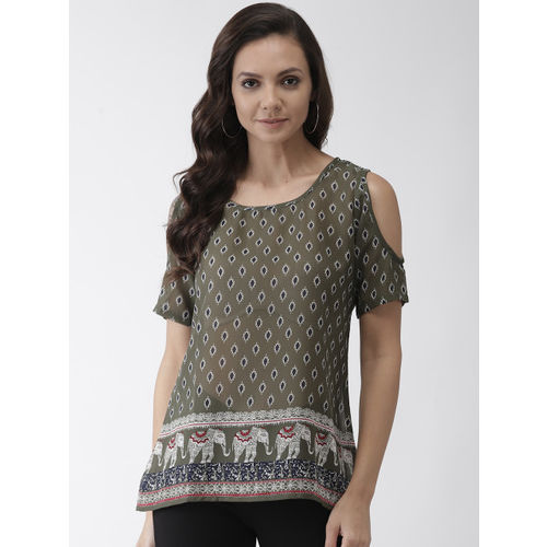 Rue Collection Women Olive Green & Navy Blue Printed Cold Shoulder Top