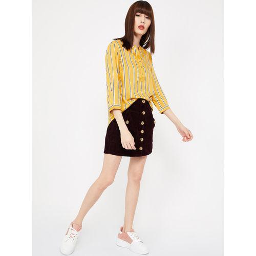 Bossini Women Yellow Striped Shirt Style Top