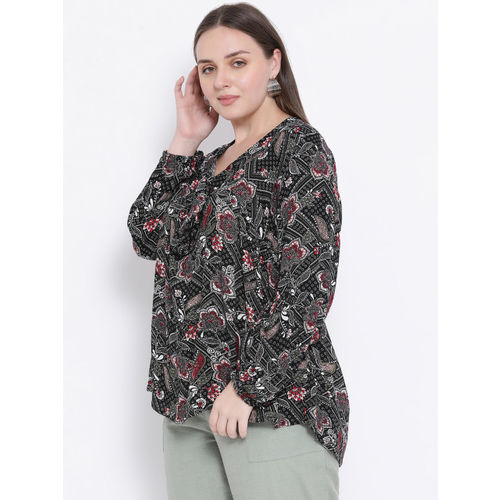 Oxolloxo Women Black Printed High-Low Top