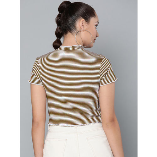 VividArtsy Women Brown & White Striped Fitted Crop Top