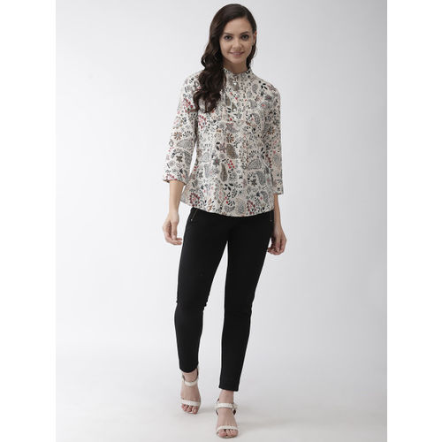 Rue Collection Women Off-White & Navy Blue Printed Shirt Style Top