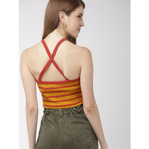 FOREVER 21 Women Mustard Yellow & Rust Red Striped Styled Back Top