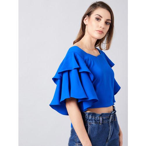 Athena Women Blue Solid Crop Top