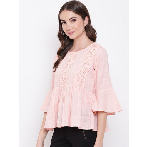 Mayra Women Pink Solid A-Line Top