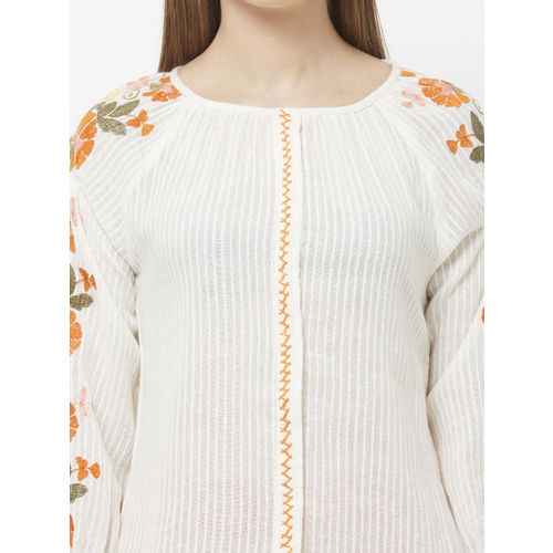 Fusion Beats Women Off-White Printed Printed Top