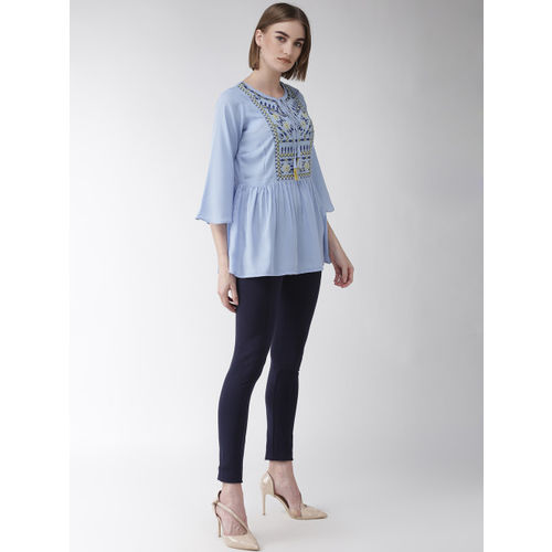 plusS Women Blue Embroidered A-Line Top