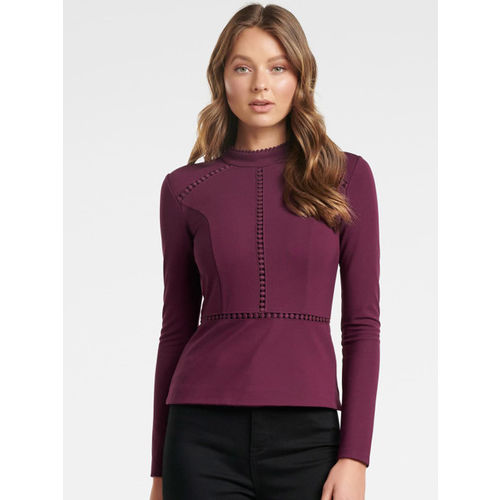 Forever New Women Maroon Solid Cinched Waist Top