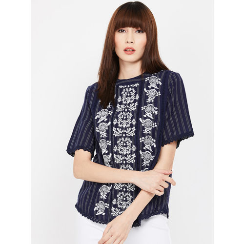 Fame Forever by Lifestyle Women Navy Blue Printed Top