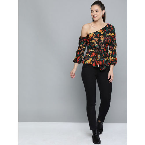 HERE&NOW Women Black & Mustard Yellow Printed Cinched Waist Top