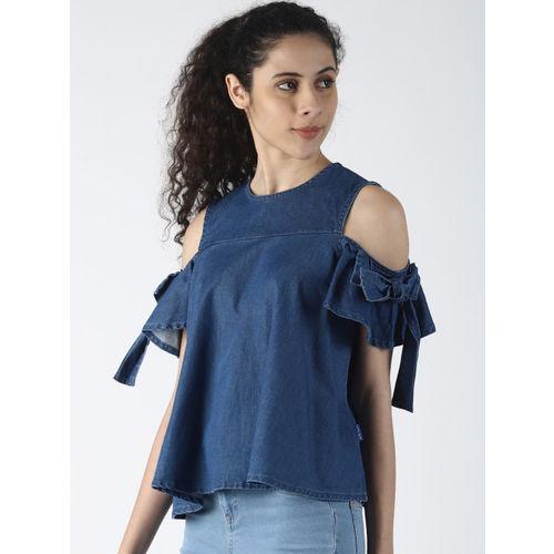 Blue Saint Women Blue Solid A-Line Top