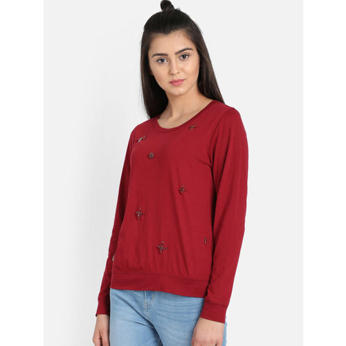 COVER STORY Women Maroon Embellished Regular Top