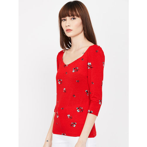 CODE by Lifestyle Women Red & Black Printed Top