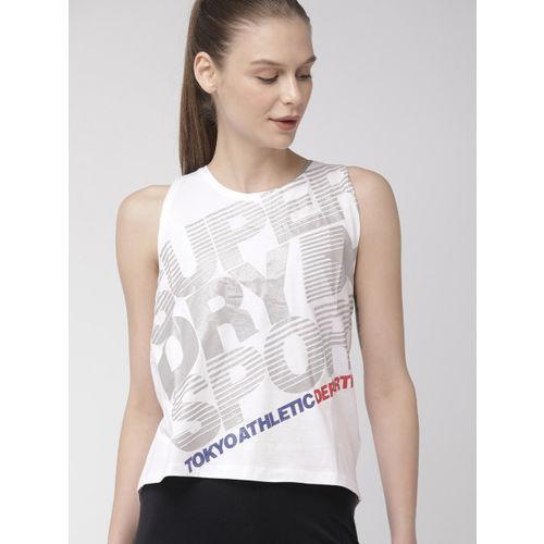 Superdry Women White & Grey Printed Core SporTech Regular Top
