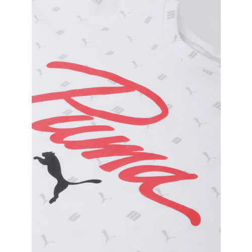 Puma Women White & Pink Printed Logo Aop Pack Cropped T-shirt