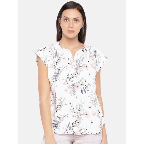 Cottonworld Women Off-White & Pink Printed Top