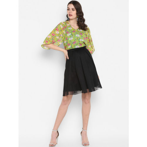 MsFQ Women Green Printed Top with Ruffle Detail