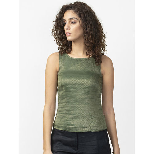 Fabindia Women Green & Golden Self Design Top