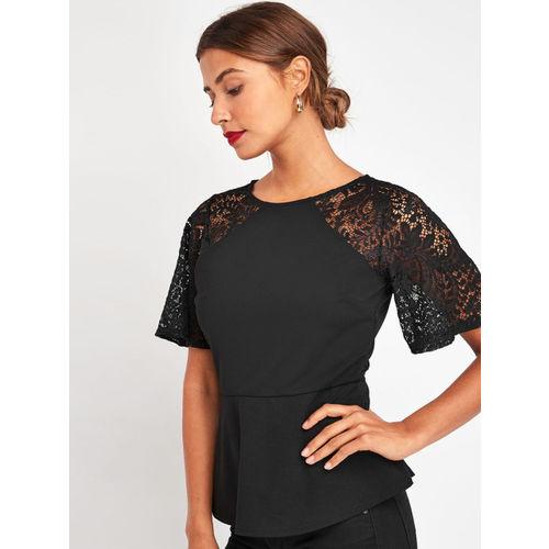 next Women Black Solid Lace Detailed Peplum Top