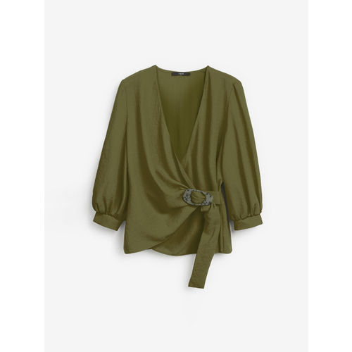 next Women Green Solid Wrap Top