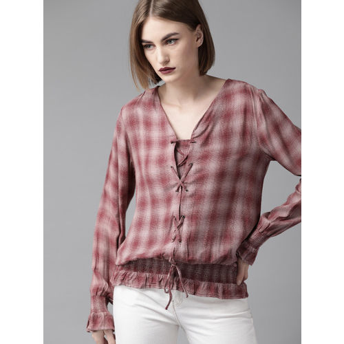 Roadster Women Burgundy & Off-White Checked Blouson Top