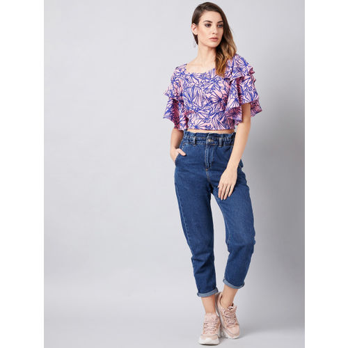 Athena Women Pink Printed Crop Top