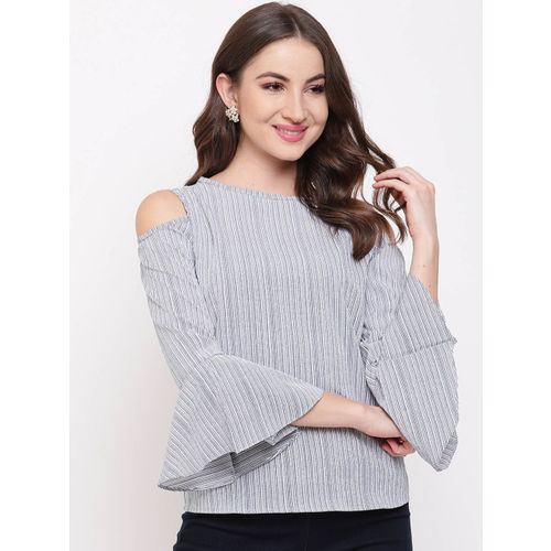 Mayra Women Blue Striped A-Line Top