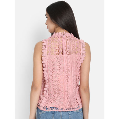 COVER STORY Women Pink Self Design Top