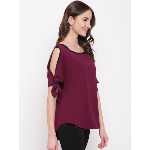 Mayra Women Burgundy Solid High-Low Top