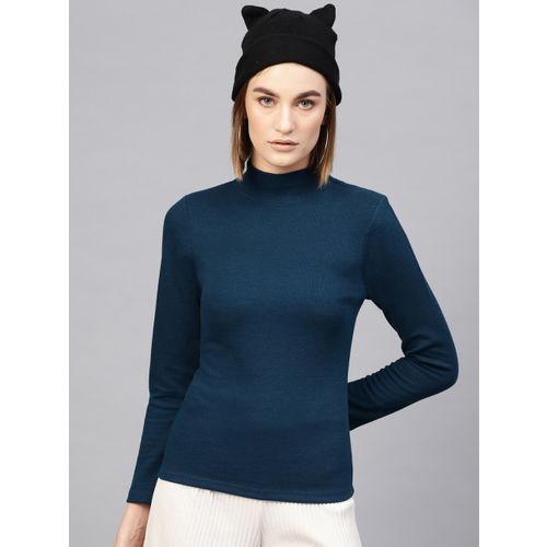 SASSAFRAS Women Teal Blue Solid Top