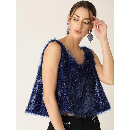 MANGO Women Blue Solid Shimmer A-Line Crop Top