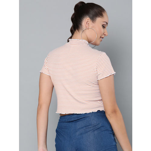 VividArtsy Women Pink & White Striped Fitted Crop Top
