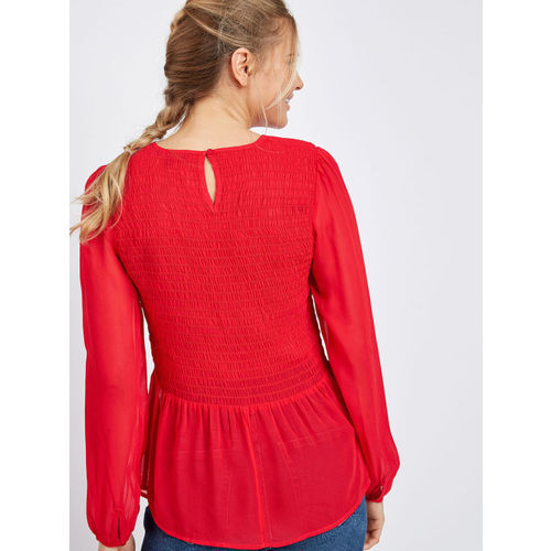 next Women Red Solid Cinched Waist Top