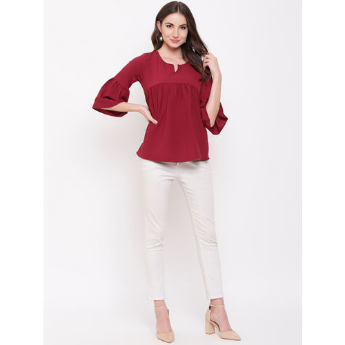 Mayra Women Maroon Solid A-Line Top