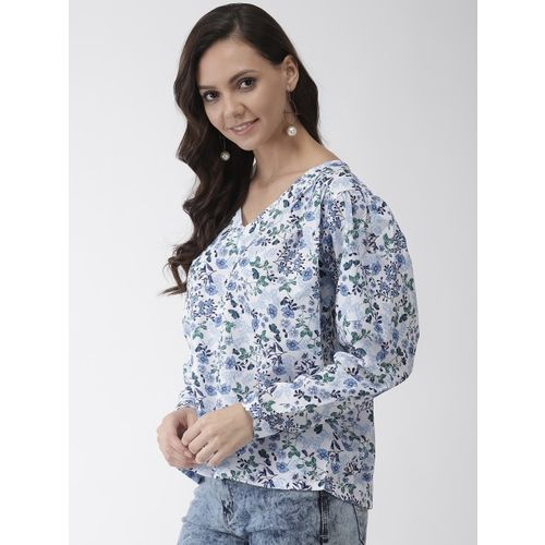 Rue Collection Women White & Blue Printed Boxy Top