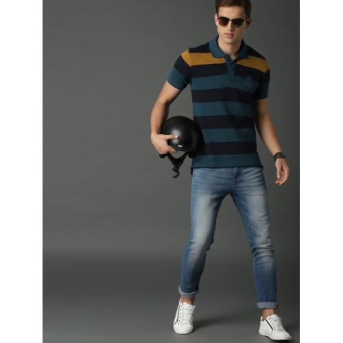 Roadster Men Navy Blue Striped & Mustard Yellow Polo Collar T-shirt
