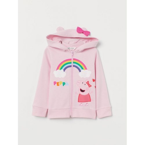 H&M Girls Pink Printed Hooded top with Appliques
