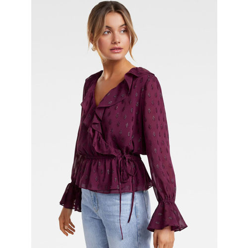 Forever New Women Maroon Embellished Wrap Top